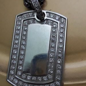 Other - Men necklace heavy chain two tone big plate